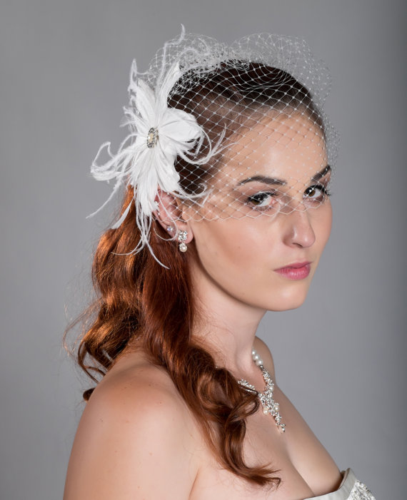 "Mariage - Limited time sale for Birdcage veil 9"" or 12"" plus Feather Fascinator"