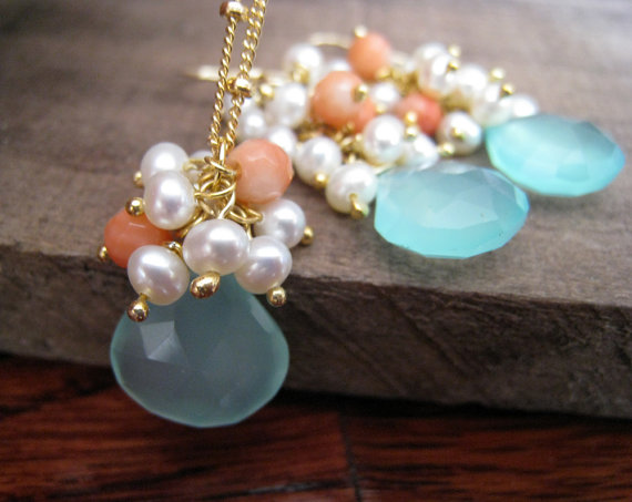 Свадьба - Sky blue chalcedony, fresh water pearl and coral accents earrings & necklace matching set, bridesmaid jewelry bridal party gift sets