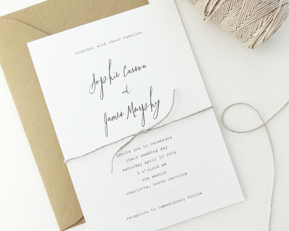 Sophie Wedding Invitation Sample Simple Invitations Rustic Minimalist Typewriter Invite