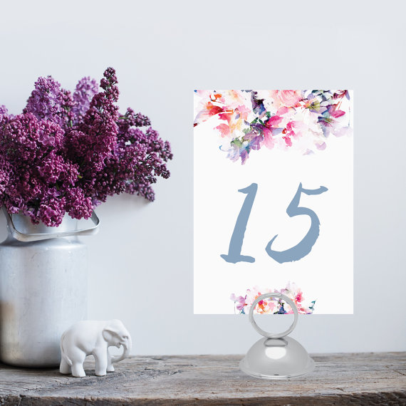 instant download floral watercolor table number 1 20 diy