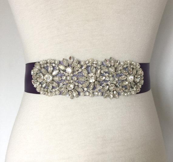 Crystal sash violet sash deep purple bridal sash for Pearl belt for wedding dress