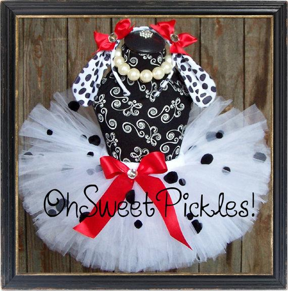 Boda - Basic - DOSIE DOE Dalmation Puppy - Halloween Costume Tutu & Headband - Sizes 0, 3, 6, 9, 12, 18, 24 Months, 2t, 3t, 4t, 5t, 6, 7