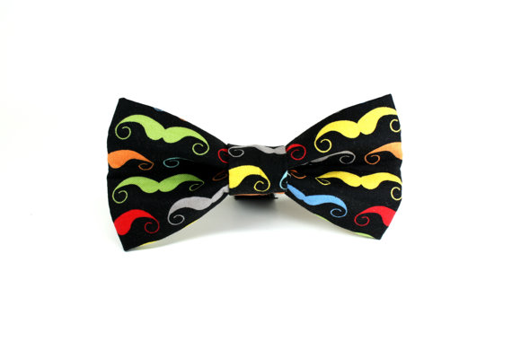 Свадьба - Funky Dog Bow Tie - Colorful Mustache Removable and Adjustable Dog Collar Bow Tie - Wedding Dog Bow Tie, Unique Dog Bow Tie