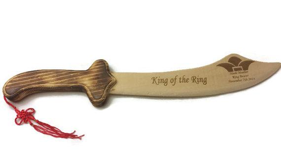 Wedding - Personalized Wooden Sword, Wedding Favors, Engraved Wooden Sword, Junior Groomsmen, Ring Bearer, Junior Groomsmen, (Style 2)
