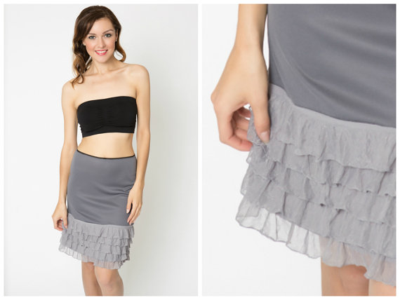 Wedding - Smoke Grey Ruffle Slip Dress Extender - All Sizes