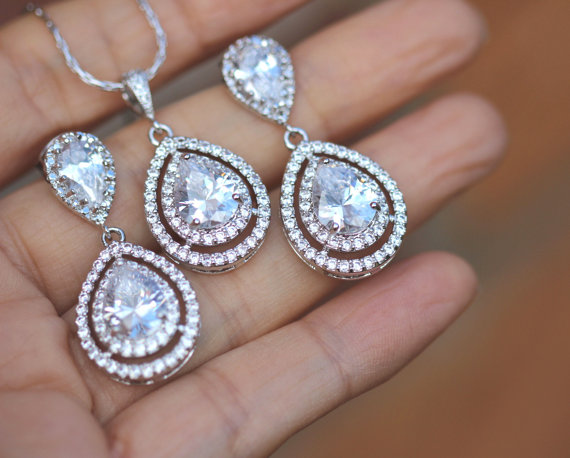 زفاف - Zirconia necklace and earring set bridal jewelry set wedding jewelry set bridesmaid set
