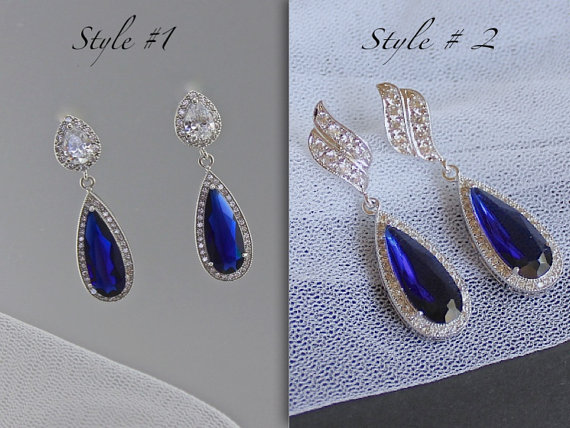Shire Blue Earrings Bridal Crystal Something Wedding Drop