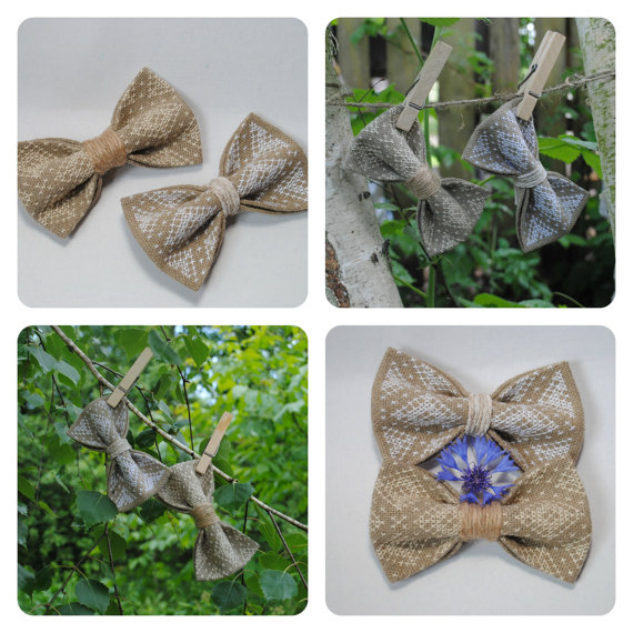 Wedding - Embroidered set of 2 burlap bowties For rustic wedding Set of bow ties Linen Grey Chic Woodland Summer wedding Rustic style Vintage Groom