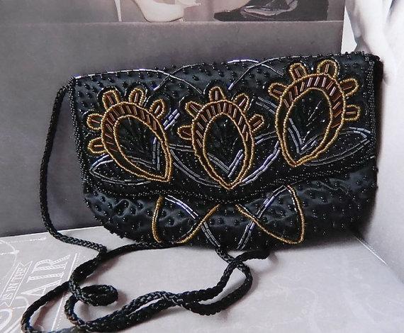 Hochzeit - Vintage Black Clutch Evening Bag Bridal Black Wedding Purse Formal Handbag by Carolyne Barton Night