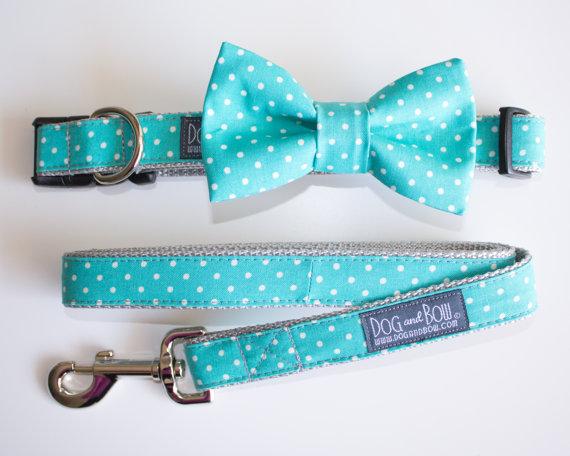 زفاف - Teal Polka Dot Bow Tie For Dog Collar with Optional Leash by Dog and Bow