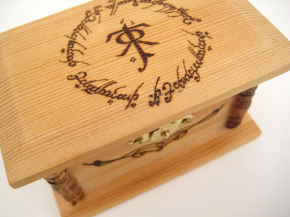 wedding ring box lord of the rings inspired wedding ring bearer box engraved wooden box rustic ring box unique wedding gift lotr - Lord Of The Rings Wedding Ring