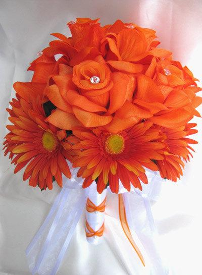 Free shipping 10 pcs wedding bouquet bridal silk flower decoration free shipping 10 pcs wedding bouquet bridal silk flower decoration package orange daisy white centerpieces roses and dreams mightylinksfo