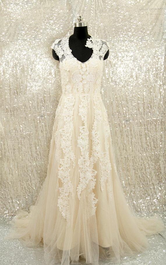 Mariage - Champagne Wedding Dress, Elegant V-neck Lace Tulle Wedding Dress, Nude Custom Made Wedding Dress, Lace Bridal Dress, Wedding Dress 2015