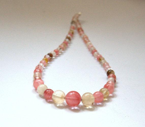 Mariage - Watermelon Tourmaline Gemstone necklace crystal bib Statement Wedding necklace round beads beaded necklace jewellery Birthday party gift