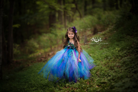 زفاف - Peacock Woodland Fairy dress/ Fairy gown/ Peacock flower girl dress/ Wood land fairy ware