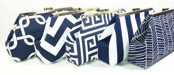 Mariage - Bridesmaids Clutches Wedding Clutch Bridal Party Purses Choose Your Fabric Navy Blue Set of 5