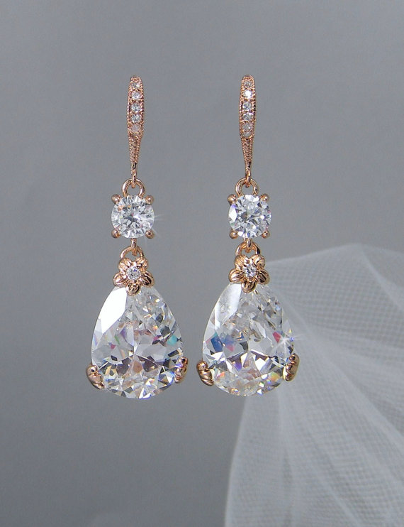 Rose Gold Bridal Earrings Drop Wedding Swarovski Bridesmaids Jewelry Megan