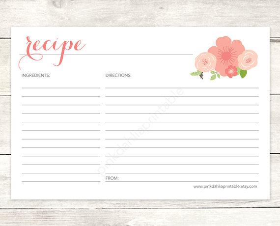 Mariage - recipe card bridal shower printable DIY pink flowers floral bouquet wedding shower shower digital accessories - INSTANT DOWNLOAD