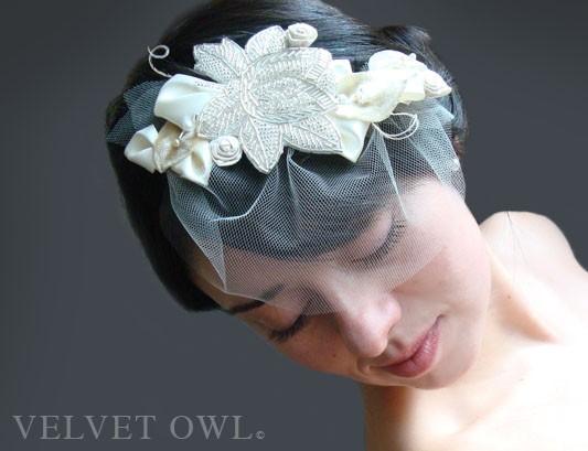 زفاف - Bridal comb or clip fascinator crystal leaves leaf accents and detachable mini tulle birdcage veil spring summer bride - VERONA