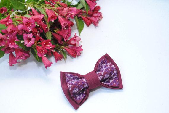 Wedding - Embroidered vinous bow tie Bowties for men Men's bowtie Gift idea him Boyfriend's gift Bowtie for boy Unisex Casual bow tie Marsala Burgundy