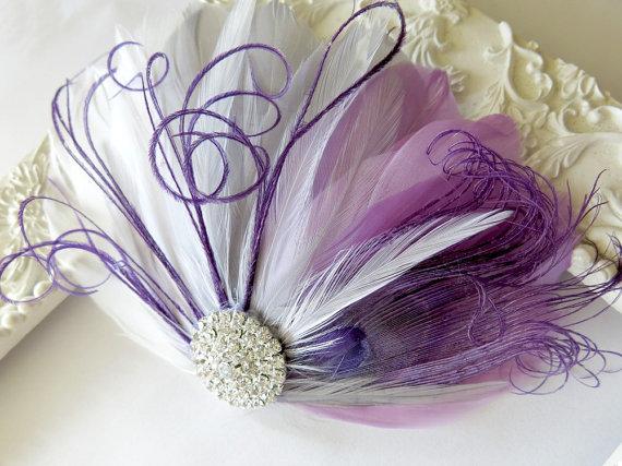 Wedding - Wedding Feather Hair Accessory, Bride Bridesmaid Feather Fascinator, Peacock, Hair Piece,Lavender, Purple, Gray, White,Peacock, Hair Clip