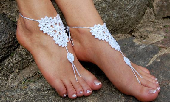 Mariage - Barefoot Sandals, Beach Wedding Shoes, Wedding Accessories, Nude Shoes, Yoga socks, Foot Jewelry