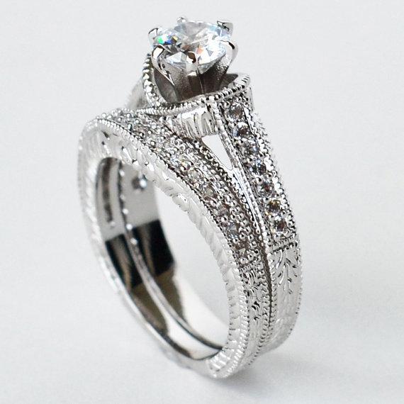 Mariage - cz ring, cz wedding ring, cz engagement ring, wedding ring set, ring set, cz wedding set cubic zirconia size 5 6 8 9 10 - MC1082991AZ