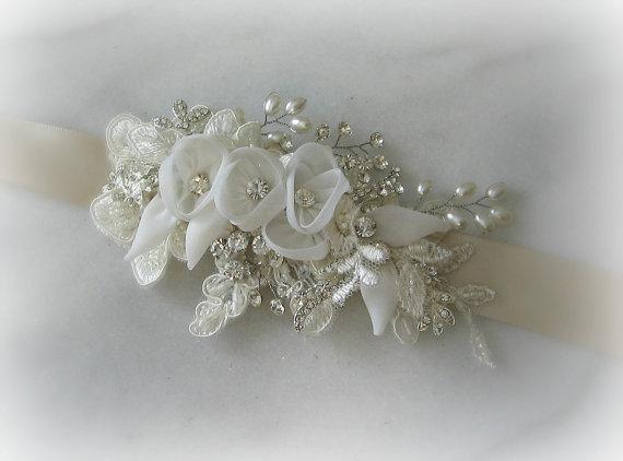 Hochzeit - Skinny Sash, Light Champagne and Ivory Wedding Belt, Narrow Bridal Sash with Ivory Flowers - BRITT