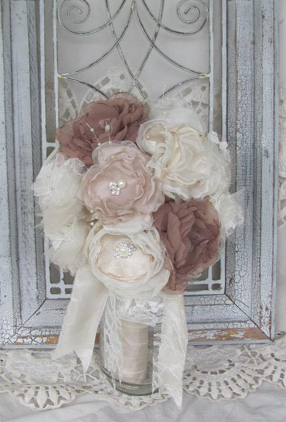 Mariage - Bridal Bouquet Rhinestones and Pearls by Burlap and Bling Design Studio