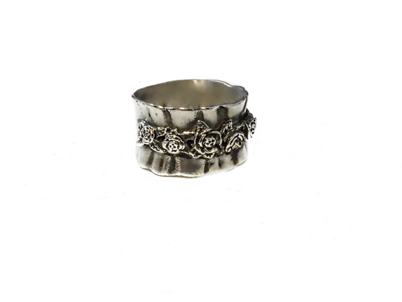 Wedding - New Ring Sterling Silver Flower Bouquet Ruffle Rose Ring R.l. Signed Israel