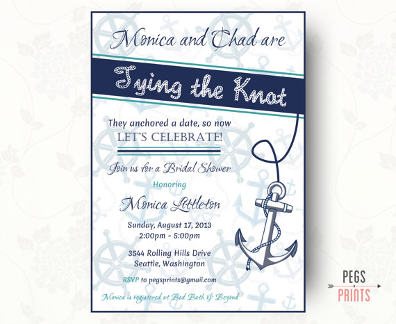Mariage - Nautical Bridal Shower Invitation (Printable)