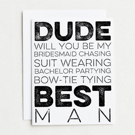 زفاف - 4 Groomsman Cards.  Will you be my Bridesmaid chasing, suit wearing, bachelor partying, bow-tie tying Groomsman? Will You Be My Groomsman?