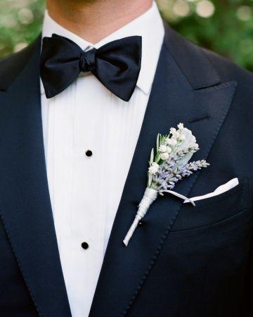 Hochzeit - Lily Of The Valley, Lamb's Ear Leaves, And Lavender And Rosemary Sprigs Adorned The Groom's Lapel.