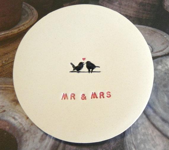 Hochzeit - Wedding Ring Holder MR & MRS Plate Little Bird Ceramic Ring Dish Ivory Ring Pillow Custom Ring Bearer Bowl Eco Friendly Pottery