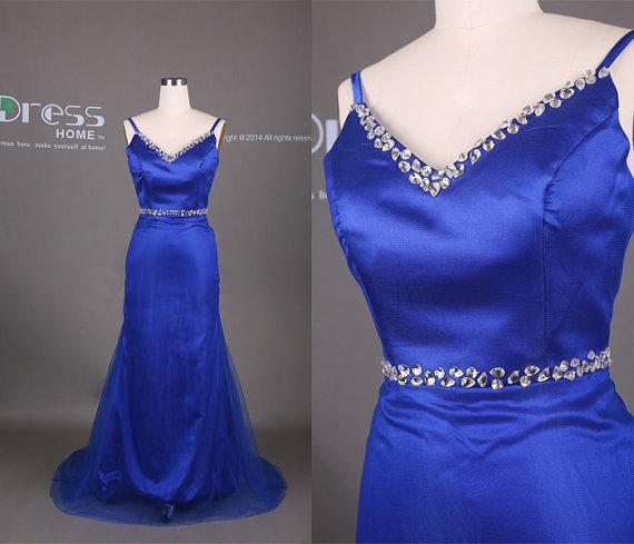 زفاف - Royal Blue Spaghetti Straps Beading Rhinestones Tulle Mermaid Wedding Dress/Open Back Bridal Dress/Elegant Long Mermaid Evening Gown DH332