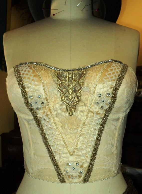 Antique Bridal Bustier Wedding Corset Cream Embellished With ...