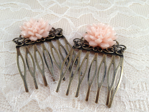Mariage - Hair Comb, Filigree Hair Comb, Antique Hair Comb, Bridal Hair Comb, Wedding Hair Comb, Bridesmaid Accessories, Bridesmaid Gift, Peach Flower