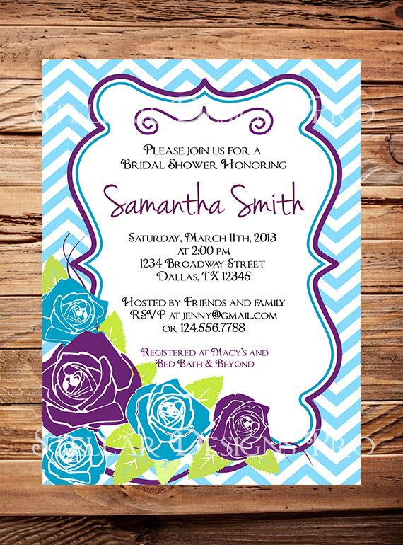 Wedding - Roses Bridal shower Invitation,Purple, Blue Roses, Wedding Shower, Light Blue, Purple, Pink, Light Green, Yellow, hevron Stripes - Item 1096