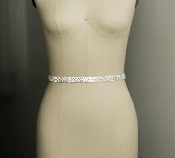 زفاف - LEA - Bridal sash, wedding headband, crystal belt, wedding gown belt sash, headpiece, rhinestone headband