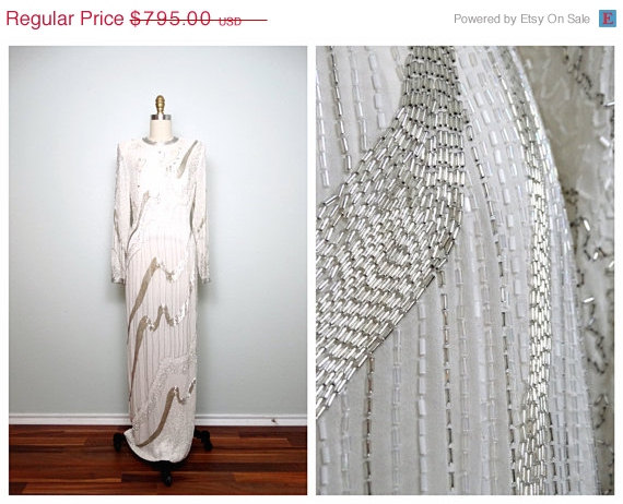 Wedding - ANNUAL 2-DAY SALE Heavily Beaded Wedding Gown // White & Silver Silk Beaded Full Length Dress // Art Deco Wedding Dress 32 34