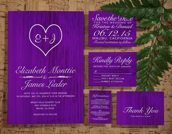Purple Country Wedding Invitation Set Suite Invites Save The Date Rsvp Thank You Cards