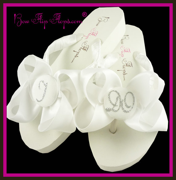 68ca88450d4f36 Bridal Flip Flops Wedding Flip Flops Ivory Wedge White Ribbon Bow Satin I  DO Bride Gift Sandals Platform Shoes monogrammed or rhinestone