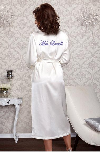 personalized satin bridal long robe for the bride wedding day honeymoon or bridal shower gift idea wedding lingerie bridal lingerie