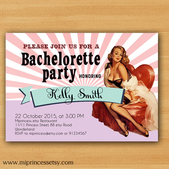 bachelorette party hens party invitations vintage bridal shower invitation pinup girl invitations hens night invitation card 715