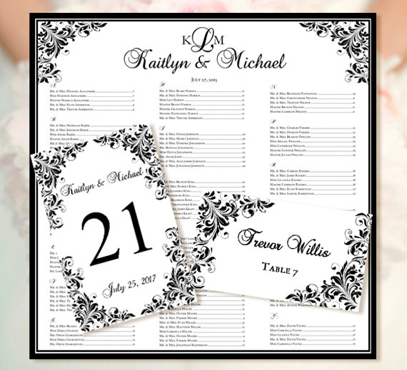 wedding seating chart kaitlyn black templates set includes printable table number and place