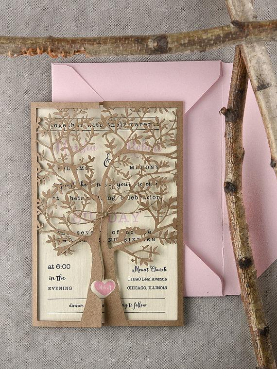 Custom Listing (20) Rustic Wedding Invitation, Laser Cut Tree Invitation,  Pink Eco Wedding Invitations, Rustic Heart Invitations