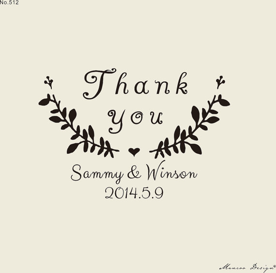 Custom Stamps 2 X1 6 Rubber Stamp Thank You For Personalized Flower Seed Wedding Favors