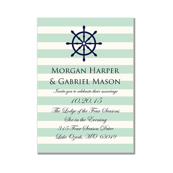 "Mariage - Nautical Wedding Invitation Template-""Nautical Wheel-Mint and Cream"" Printable Wedding Invitation-INSTANT DOWNLOAD-Microsoft Word Format"