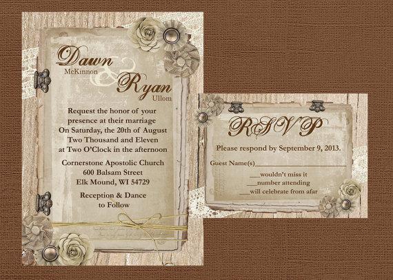 زفاف - Rustic Wedding Invitation, Lace Wedding Invitation, Wood Wedding Invitaiton, Vintage Wedding Invitation, Country Wedding Invitation,Custom