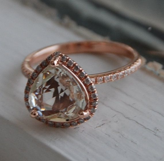 Mariage - 2.2ct Heart Champagne Sapphire 14k Rose Gold Pear Diamond Ring Engagement Ring